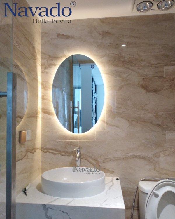 LED rectangular mirror corner bathroom
