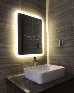 LED rectangular mirror corner bathroom