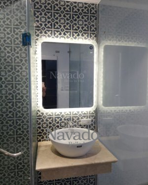 Led mirror stray sand rounded corners 600x800mm