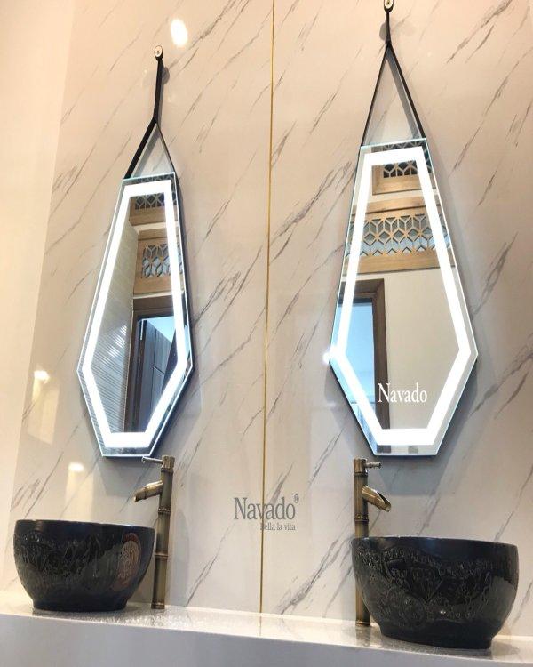 DIAMOND LEATHER STRAP BATHROOM MIRROR