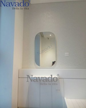 MAKE UP MIRROR FRAME OF WHITE LEATHER