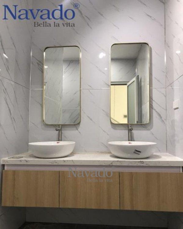 Mirror bathroom gold stainless steel rim