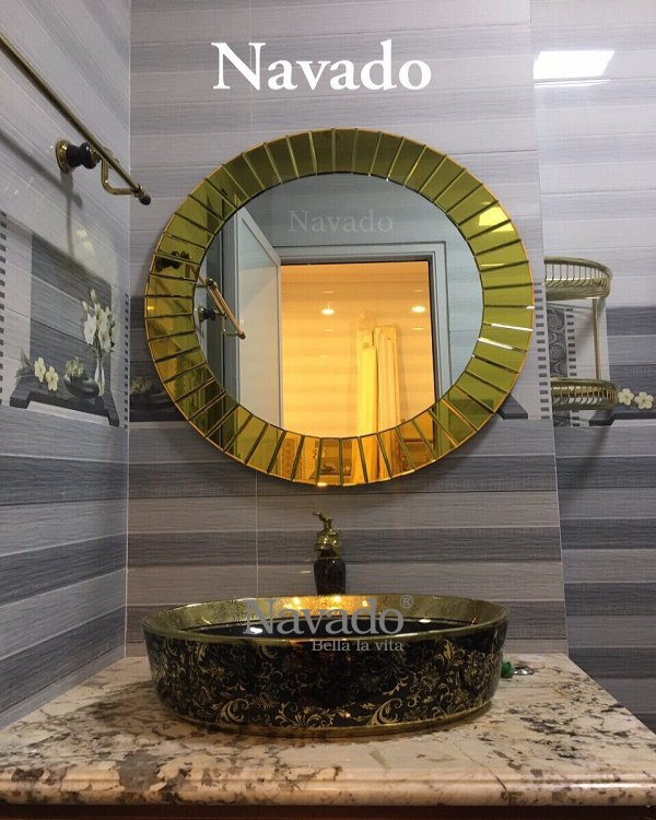 The Light decorative mirror with gold border