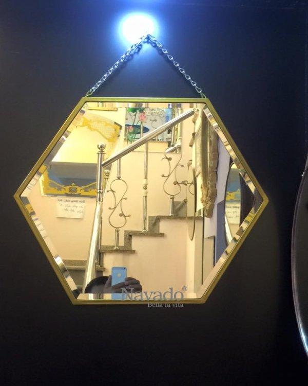 Hexagonal mirror for dressing table