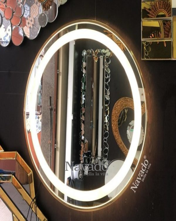 High-end gold stainless steel frame led makeup mirror