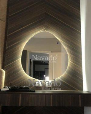 Mirror led stone vanity table