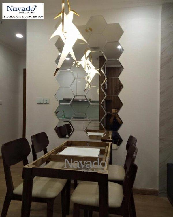 Mirror hexagonal wall art