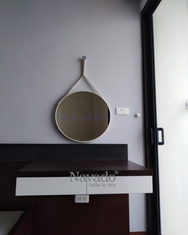 40cm white leather strap mirror