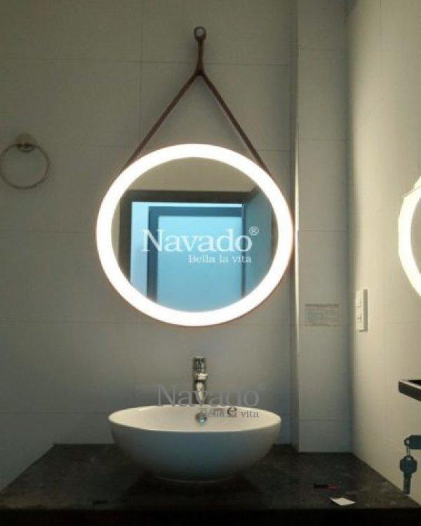 LED bathroom leather strap mirror
