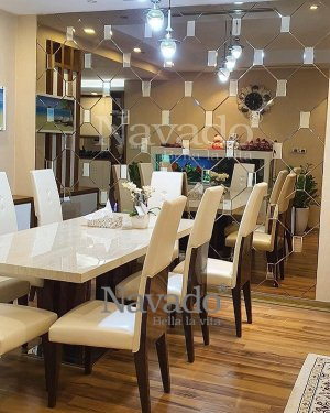 Decorative mirror mounted dining table wall