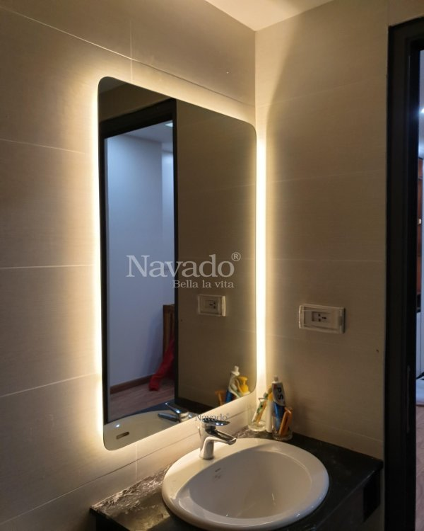 LED RECTANGLE MIRROR ROUND CONNER DECORATE BATHROOM