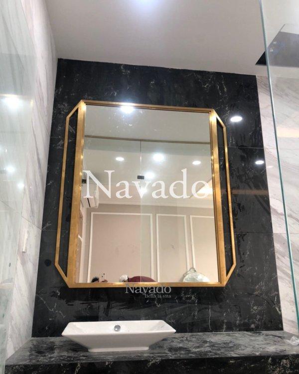 BATHROOM MIROR MODERN GOLD FRAME DESIGN