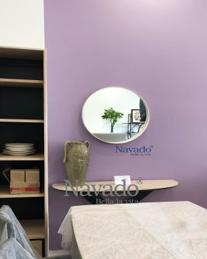 ROUND WOODEN FRAME MIRROR WALL LIVING ROOM