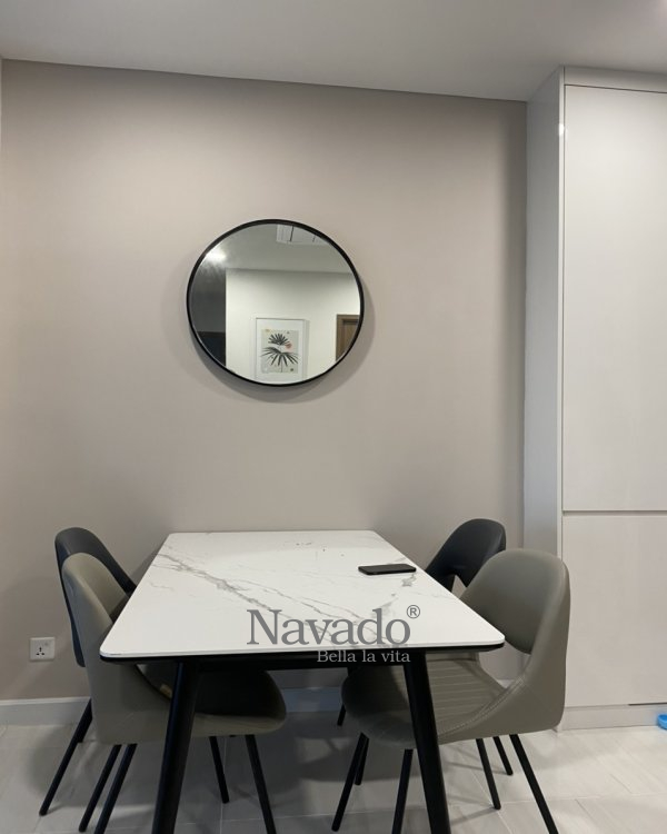 ROUND BLACK FRAME MIRROR WALL DECORATE DINING ROOM