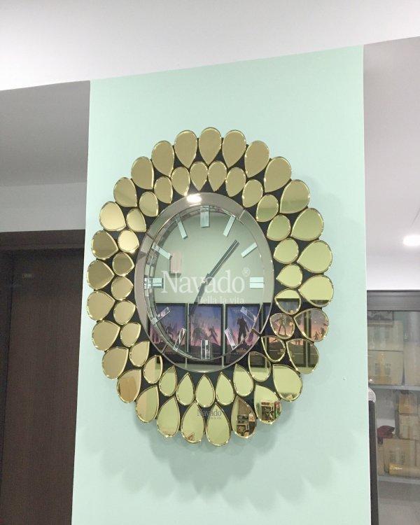 ART GOLD MIRROR CLOCK FOR DECOR HOUSE LIVING ROOM