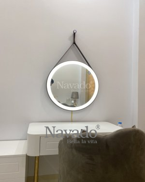 MODERN LED LEATHER STRAP MAKEUP MIRROR