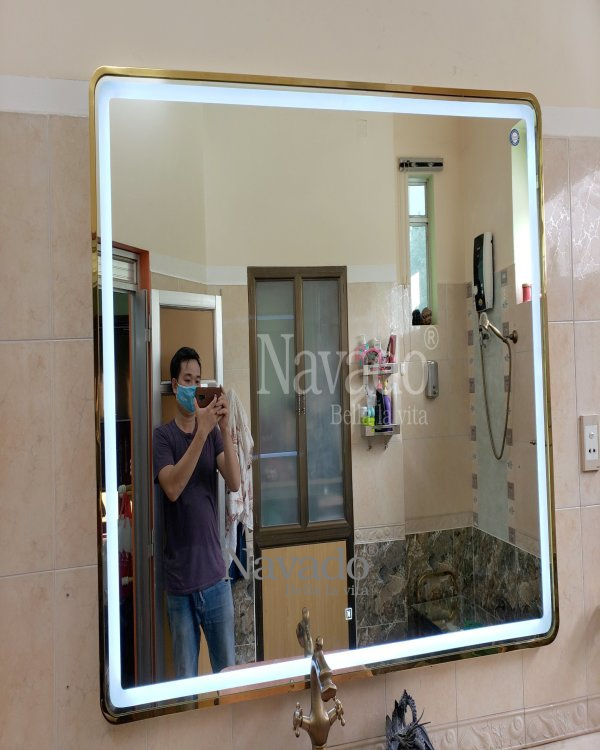 LED RECTANGLE BATHROOM MIRROR WITH LUXURY GOLD FRAME