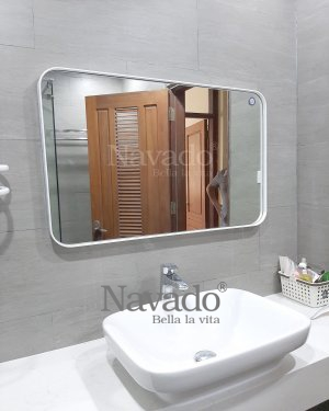 WITH LEATHER STRAP RECTANGLE BATHROOM MIRROR