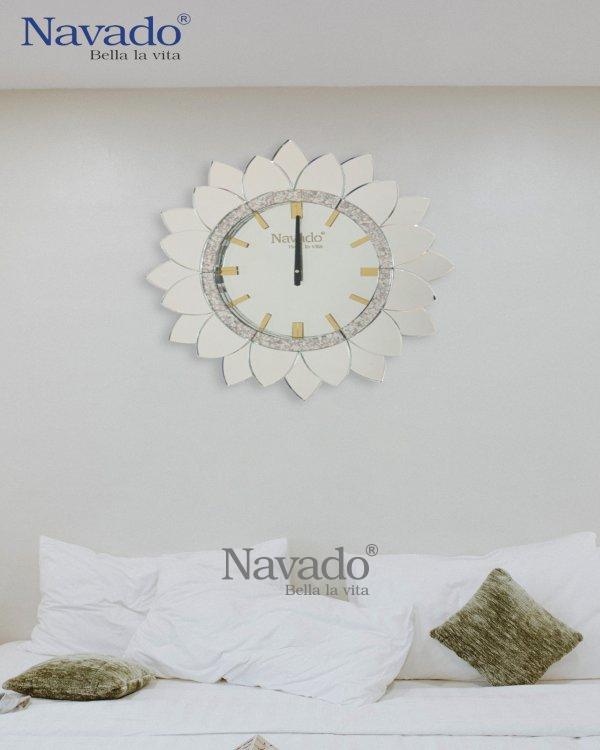 ART SUN FLOWER CLOCK WALL DECOR LIVING ROOM