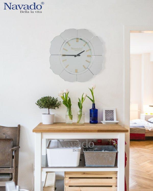 ART FLOWER MIRROR CLOCK FOR DECORATE LIVING ROOM