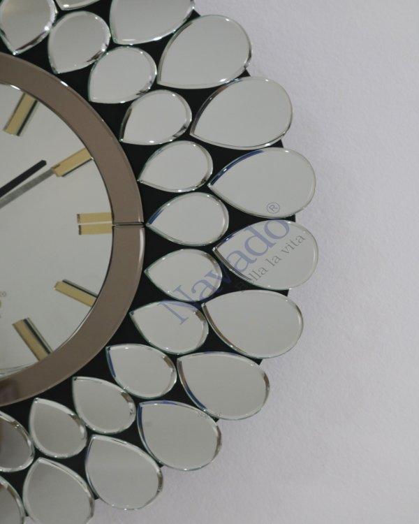 ART SILVER PEACOCK CLOCK MIRROR DÉSIGN