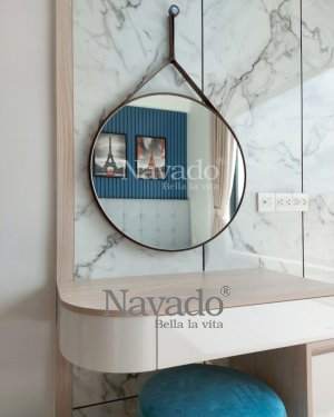 ROUND LEATHER STRAP MAKEUP MIRROR AND WALL DECOR BEDROOM