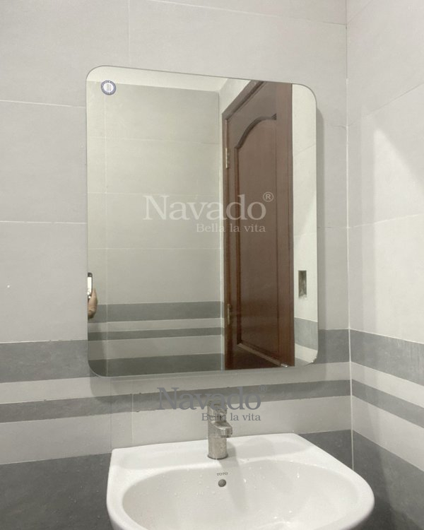 MODERN BASIC RECTANGLE BATHROOM MIRROR WITH ROUND CONNER