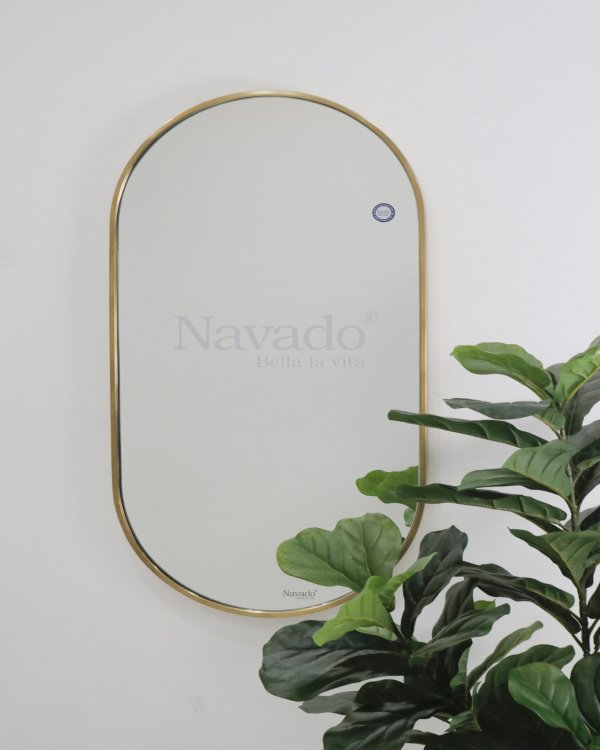 MODERN OVAL MIRROR WITH GOLD FRAME WALL DECOR HOUSE