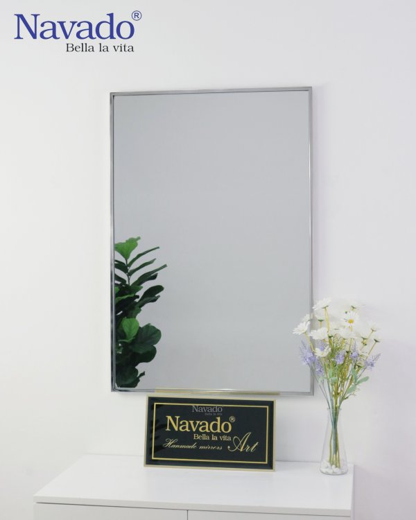 MODERN RECTANGLE MAKEUP MIRROR WITH SILVER FRAME