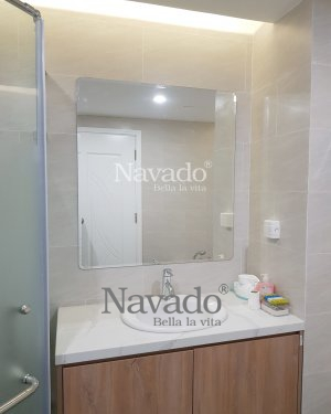 BASIC MODERN RECTANGLE BATHROOM MIRROR WITH ROUND CONNER