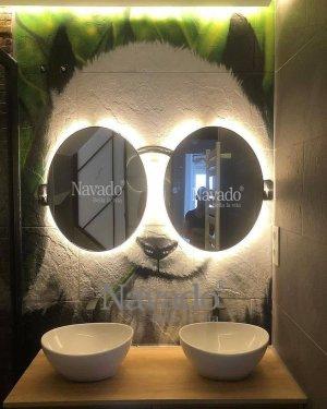 ROUND LED BLACK FRAME MIRROR FOR BATHROOM