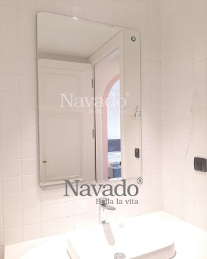 BASIC RECTANGLE BATHROOM MIRROR WITH ROUND CONNER