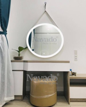 WALL ROUDN LED MAKEUP MIRROR WITH WHITE LEATHER STRAP