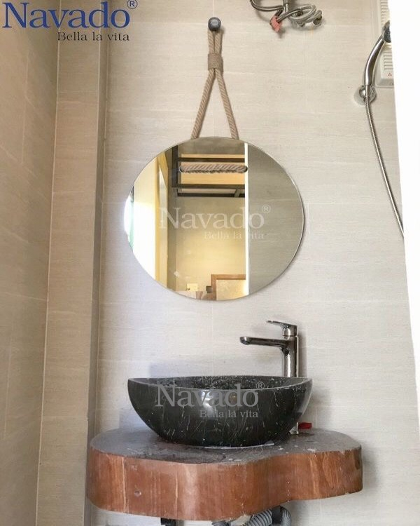 ROUND ROPE BATHROOM MIRROR WITH MODERN STYLE