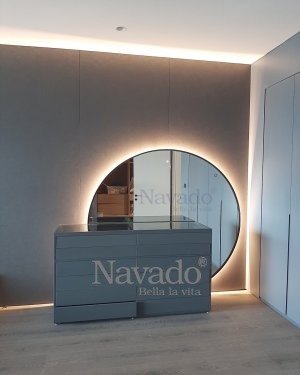 ROUND BIG BLACK FRAME  LED MIRROR DECORATE FOR